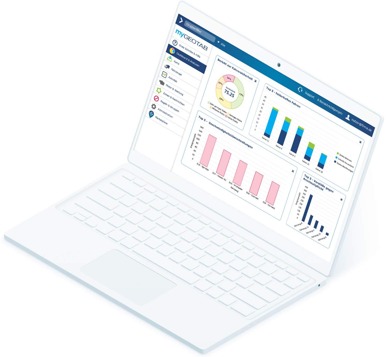 MyGeotab-Dashboard auf weißem Laptop