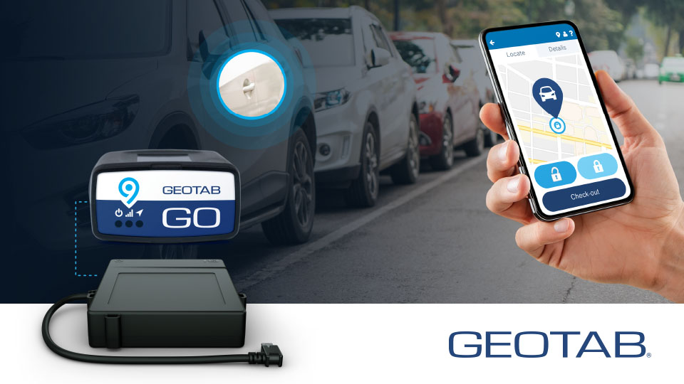 The image shows a vehicle that has been opened through a mobile app thanks to Geotab Keyless