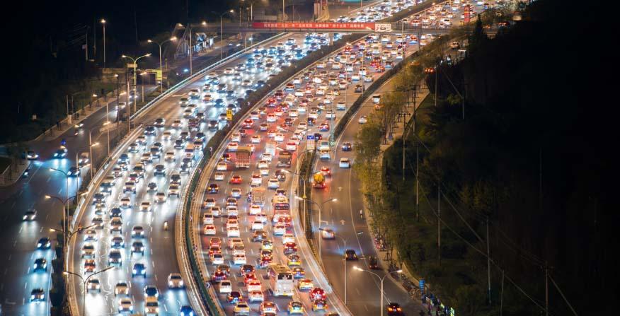 Car Traffic in highway