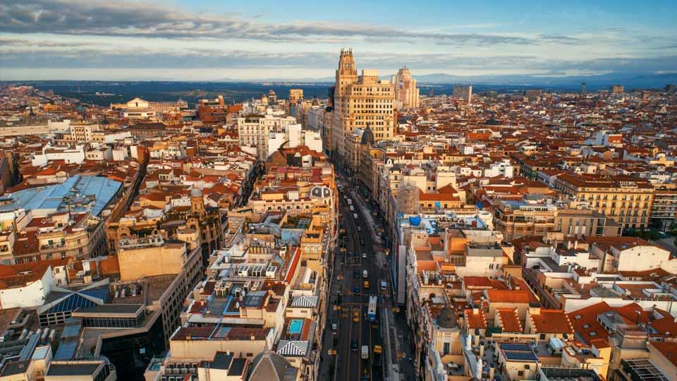 Foto del centro de Madrid desde el aire