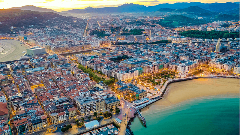 Imagen de la ciudad de San Sebastián desde el aire