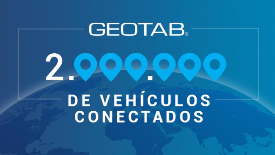 Ilustración que anuncia que Geotab ha alcanzado la cifra de 2 millones de vehículos conectados