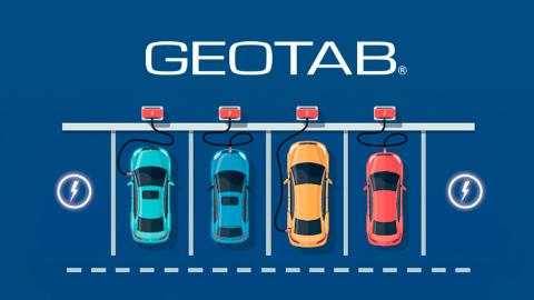 Illustration von mehreren E-Fahrzeugen an Ladesäulen.