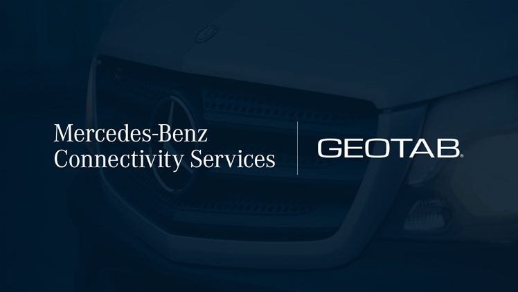 The image shows a mercedes vehicle and the logo of MBCS plus Geotab logo