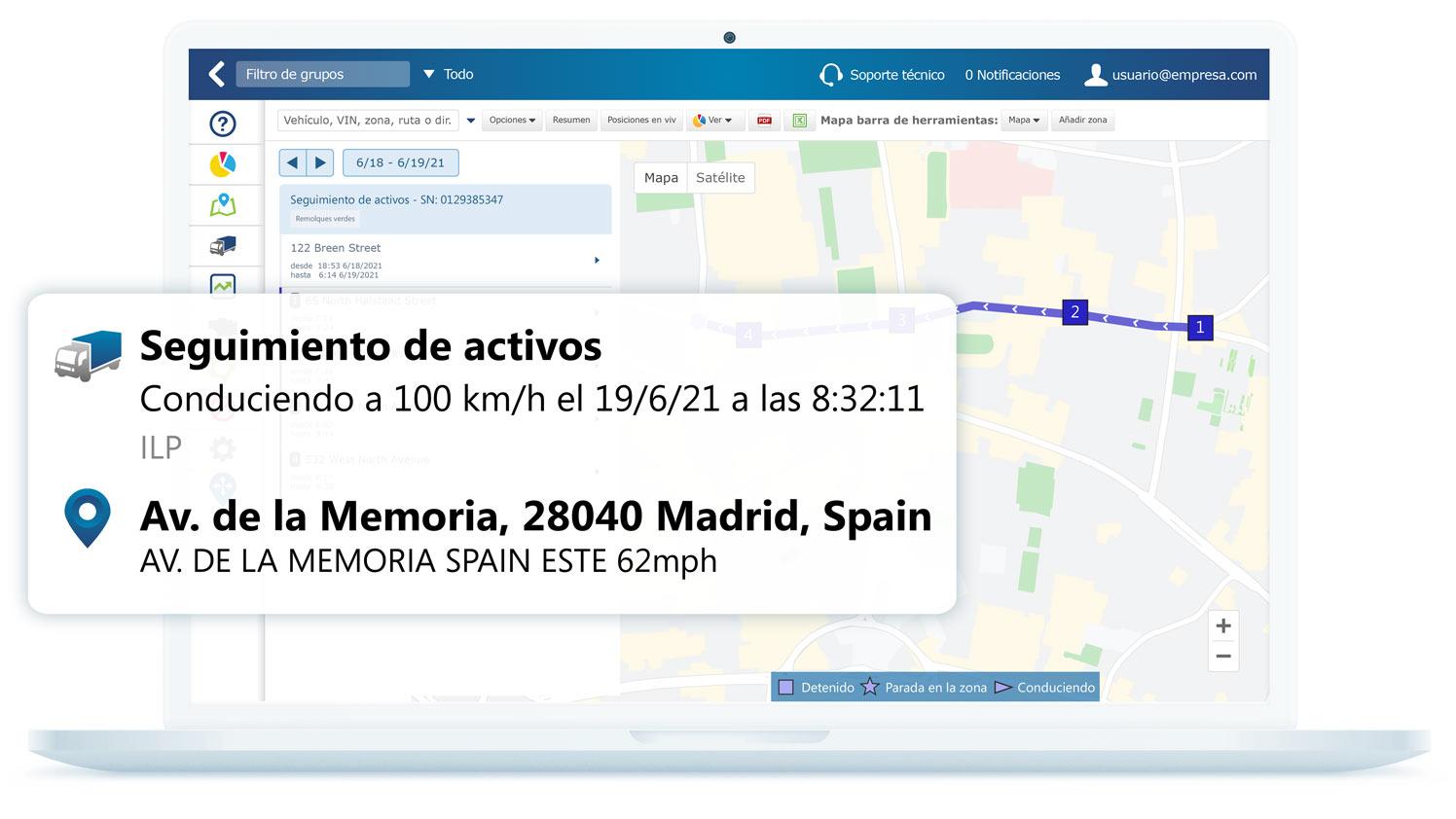 Información de seguimiento de activos en la interfaz de MyGeotab