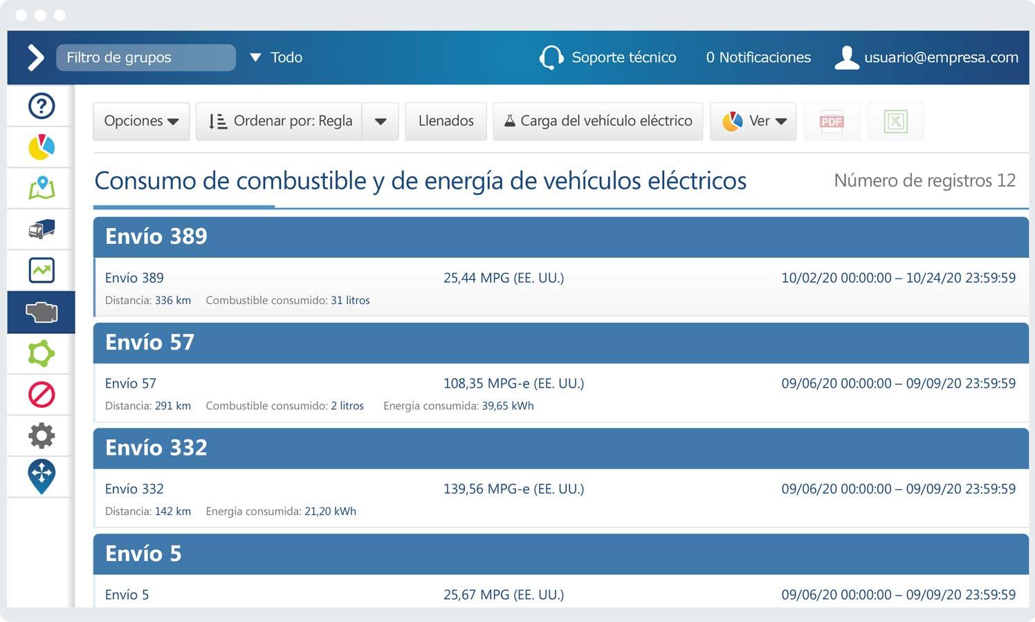 Informe de consumo de combustible y de energía de vehículo eléctrico en la interfaz de MyGeotab
