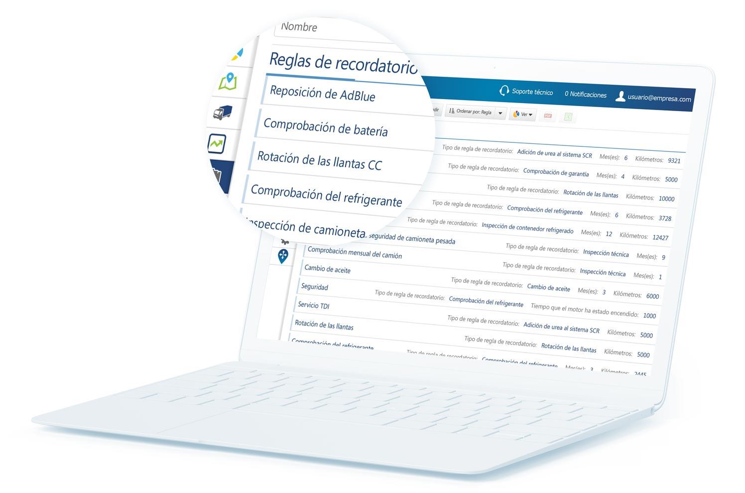 Reglas de recordatorio de mantenimiento de MyGeotab mostradas en un portátil blanco con un globo que amplía parte del contenido