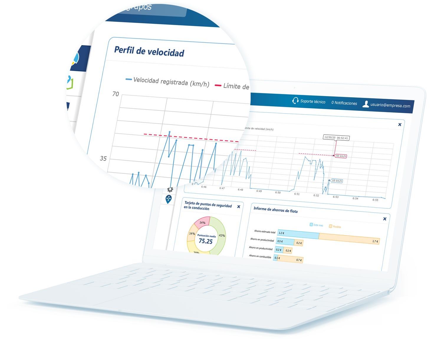 Informe de perfil de velocidad en la interfaz de usuario de MyGeotab en un portátil blanco