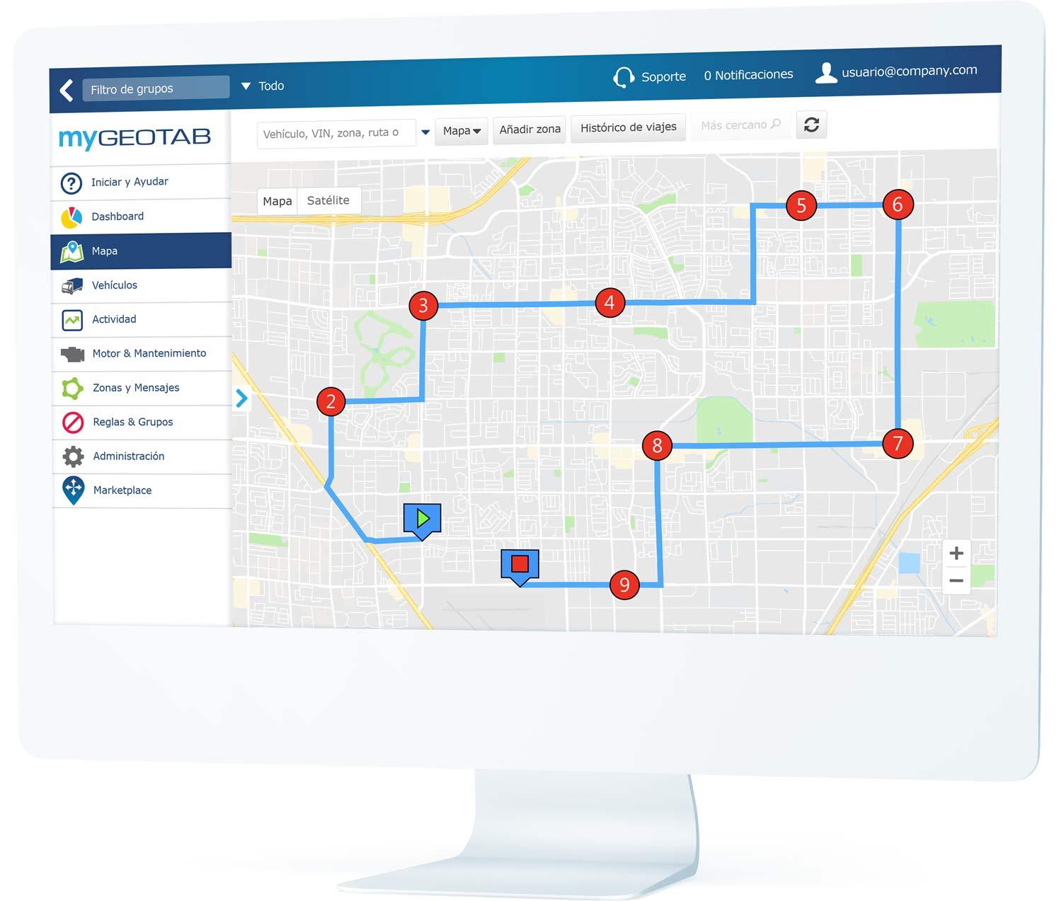 Rutas y paradas planificadas mostradas en la interfaz de usuario de MyGeotab