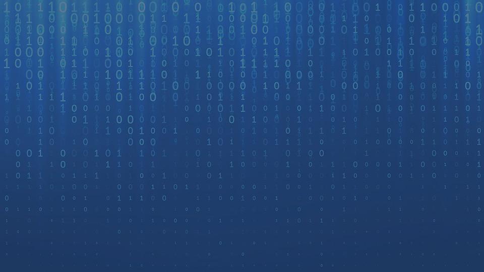 Imagen de filas de números fluyendo de arriba hacia abajo con fondo azul