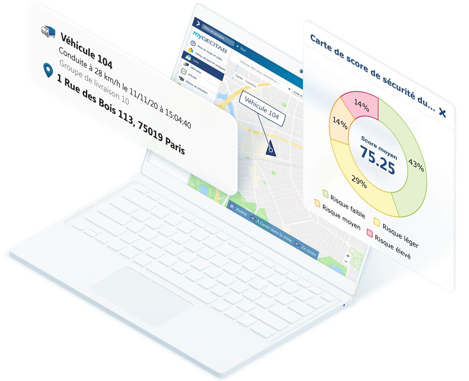 Ordinateur portable blanc affichant la carte MyGeotab avec les données du véhicule et la carte de score de sécurité du conducteur superposée à l'écran