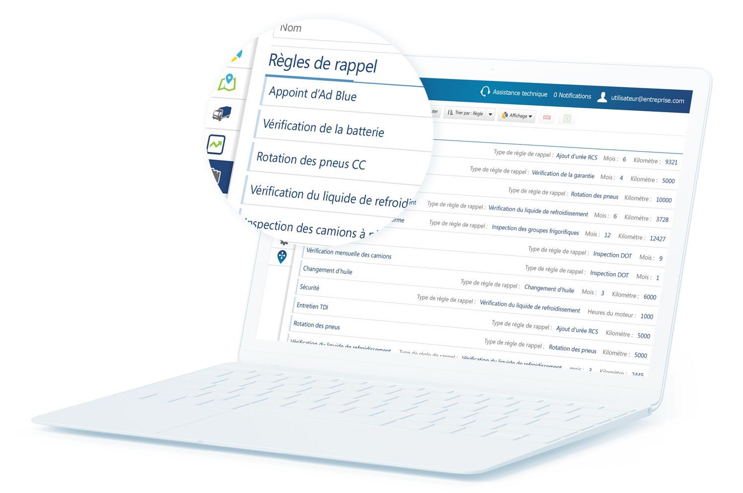 Règles de rappel d'entretien MyGeotab affichées sur un ordinateur portable blanc avec certains contenus agrandis