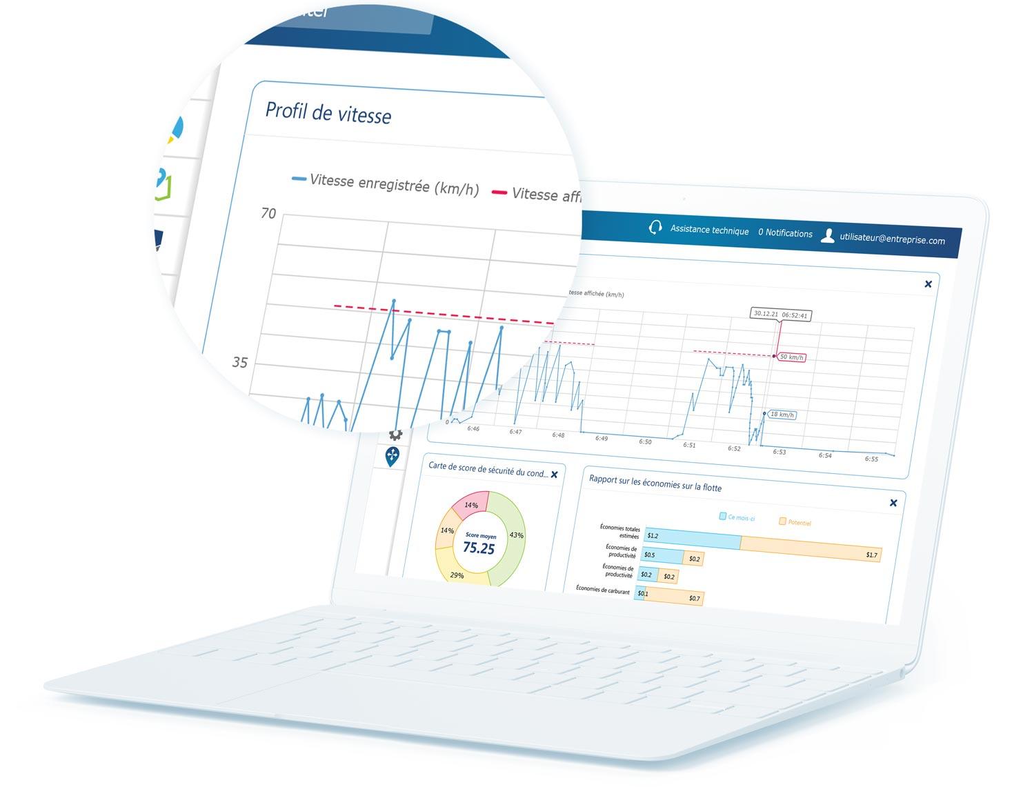 Rapport du profil de vitesse dans l'IU MyGeotab sur un ordinateur portable blanc