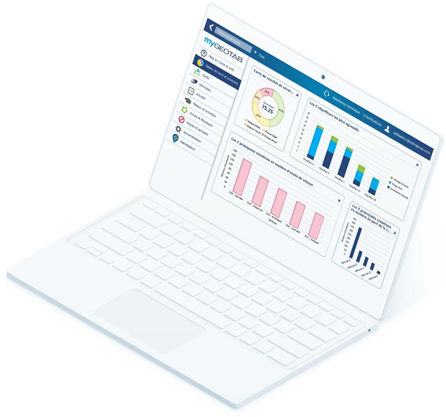 Tableau de bord MyGeotab sur ordinateur portable blanc
