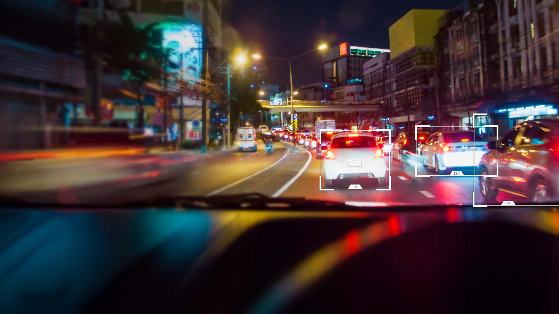 Traffic with fleet camera UI overlay