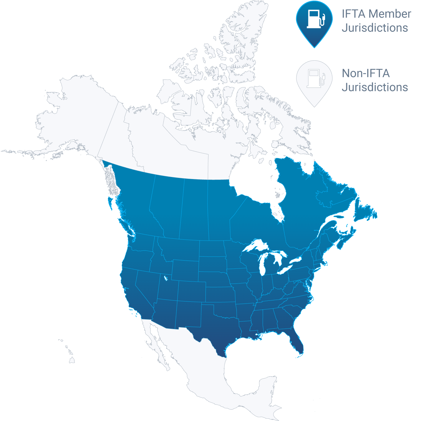 Map of North America showing IFTA jurisdiction in dark blue