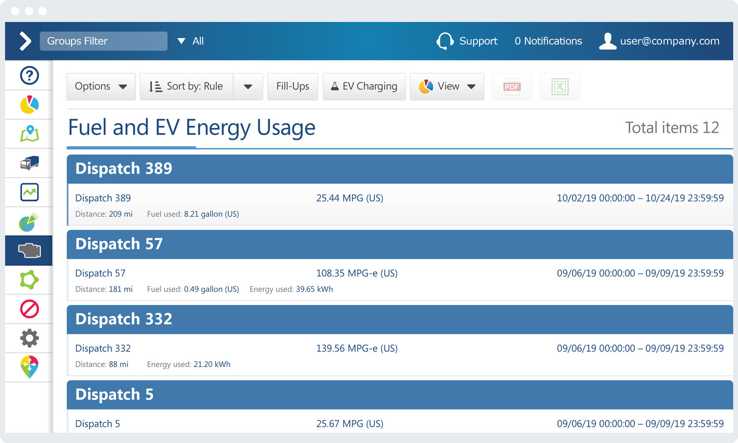 Fuel and EV energy usage report on MyGeotab interface