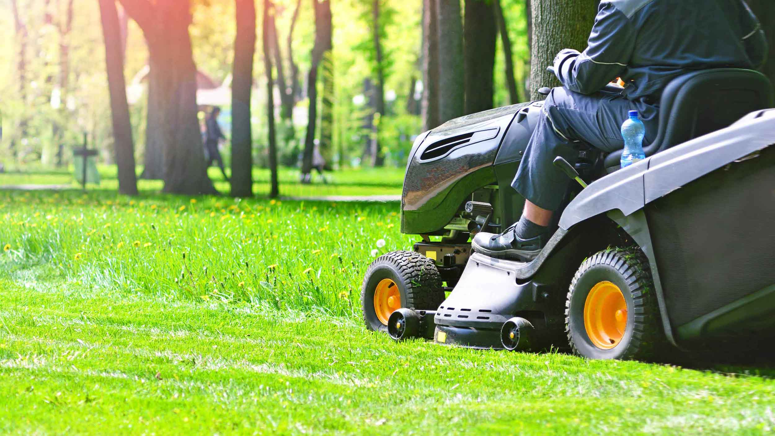 Person on a riding mower trimming green grass