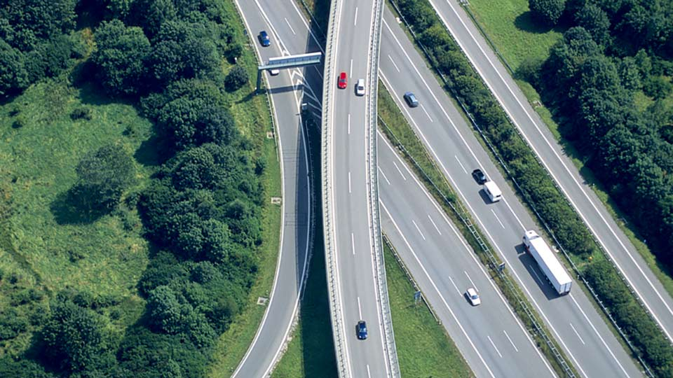 bird's eye view of highway