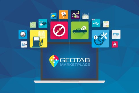Illustration of laptop with marketplace icons surrounding it