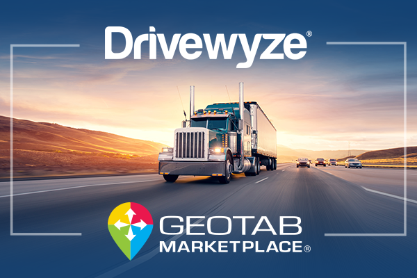 Drivewyze and Geotab Marketplace logos in front of a semi truck