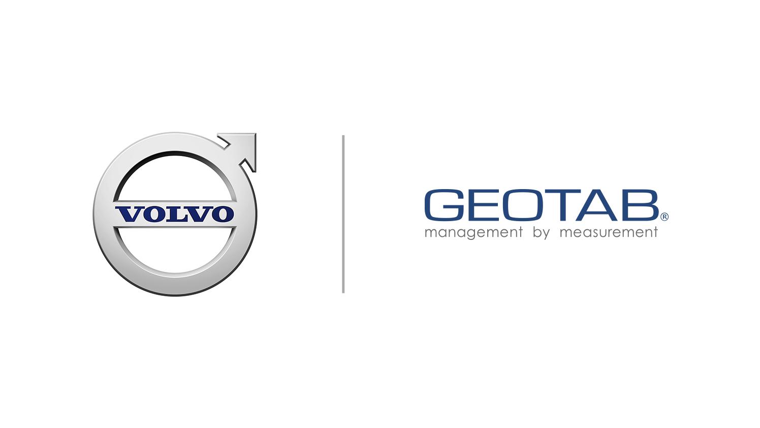 Volvo ironmark logo and Geotab logo