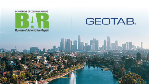 BAR and Geotab logo over California skyline