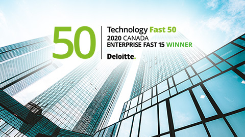 Deloitte Fast 50 logo with tall building in the background