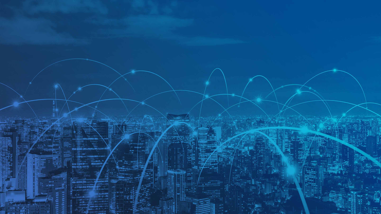 显示在城市的一个蓝色图象连接的设备连接的设备