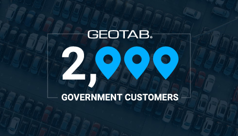 Geotab logo and 2000 government customers