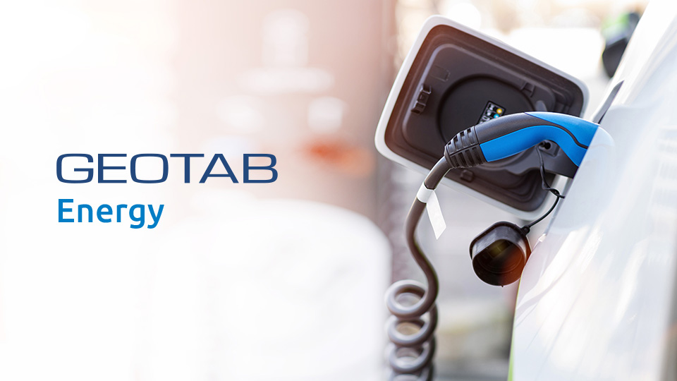 Geotab Energy logo with electric car being charged