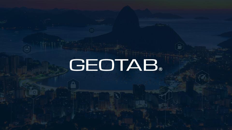 Geotab logo on dark blue background of Brazil landscape