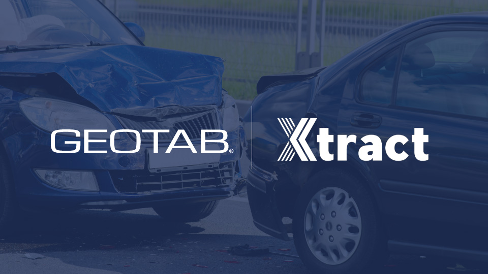 Geotab and Xtract logo on blue background of two vehicles in a collision