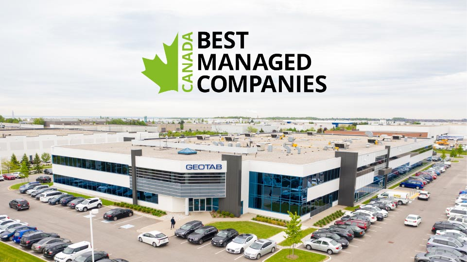 Geotab headquarters with Best Managed Companies logo