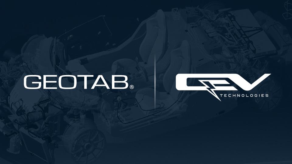 Geotab and QEV logo on a dark background