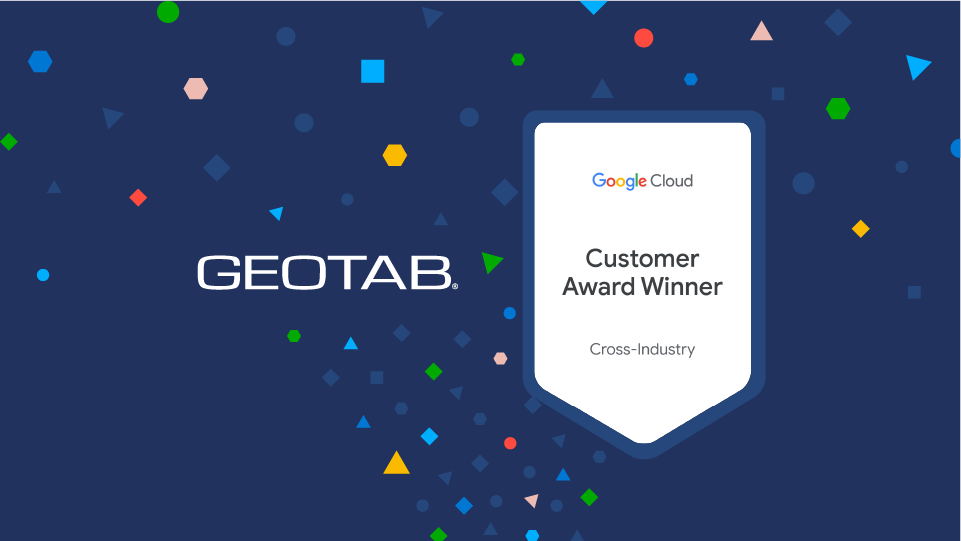 Geotab and Google Cloud Award logo on dark blue background with colored confetti