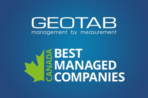 Geotab logo and Canada's Best Managed Companies logo on dark blue background