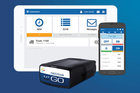 GO Device and MyGeotab dashboards on tablet and smartphone