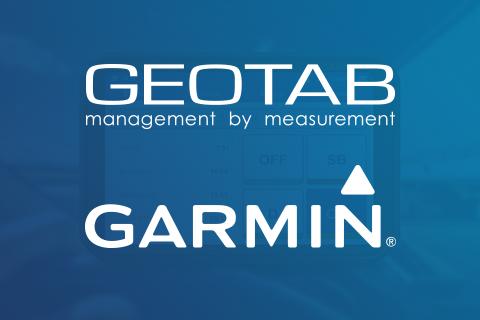 Geotab and Garmin logo on dark blue background