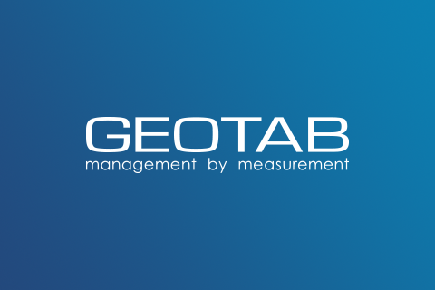 Geotab logo on dark blue background