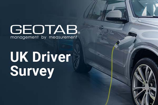 EV vehicle charging with Geotab logo and UK Driver Survey
