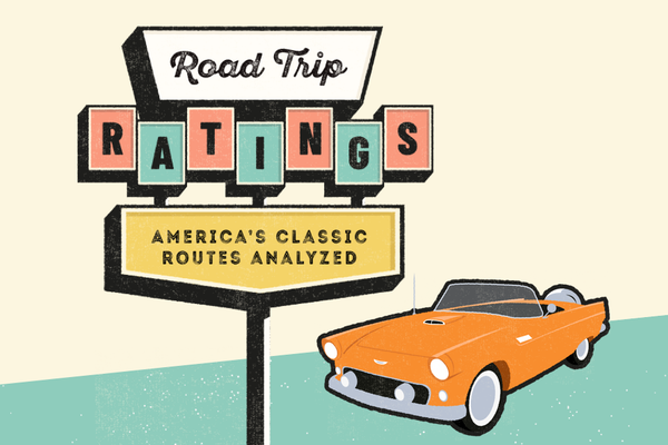"Illustration of vintage orange convertible behind sign that says ""Road Trip Ratings America's Classic Routes Analyzed"""