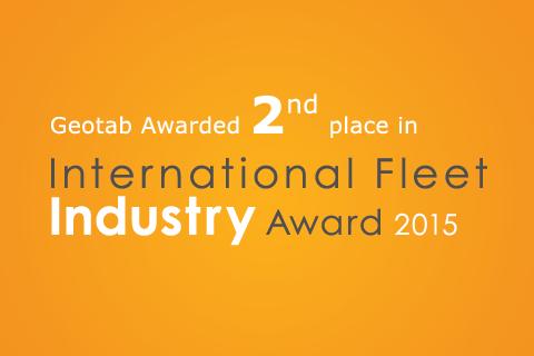 Geotab Takes Second Place International Fleet Industry Award on orange background