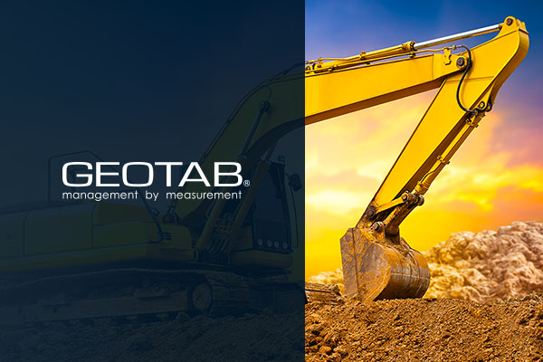 Continental crane with shovel digging up mountain of dirt with Geotab logo