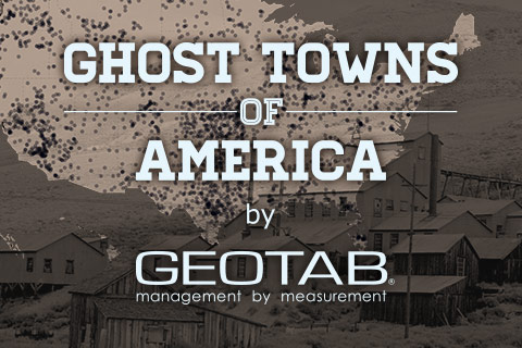 Ghost Towns of America by Geotab on grayscale American map