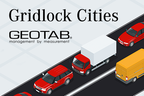 animated cars sitting in traffic with the content Gridlock Cities and Geotab logo