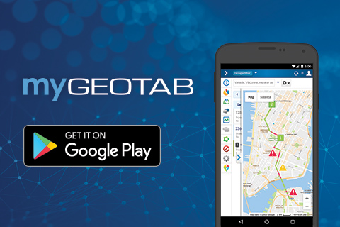 MyGeotab and Google Play logo with black smartphone displaying myGeotab dashboard