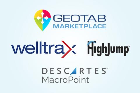Geotab Marketplace, Welltrax, High Jump and Descartes Macropoint logos