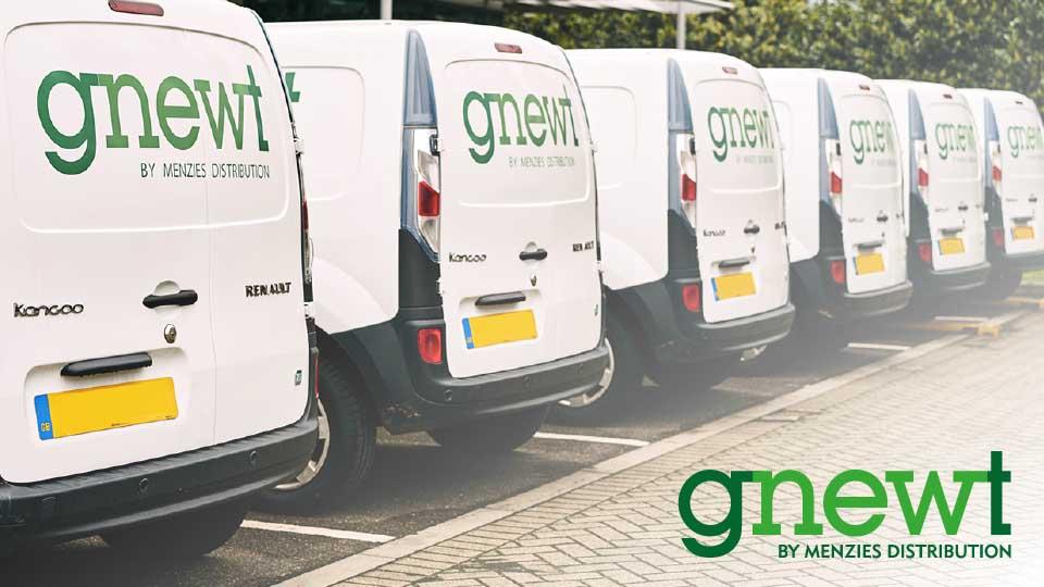 Aufgereihte elektrische Lieferwagen aus dem Vereinigten Königreiche
