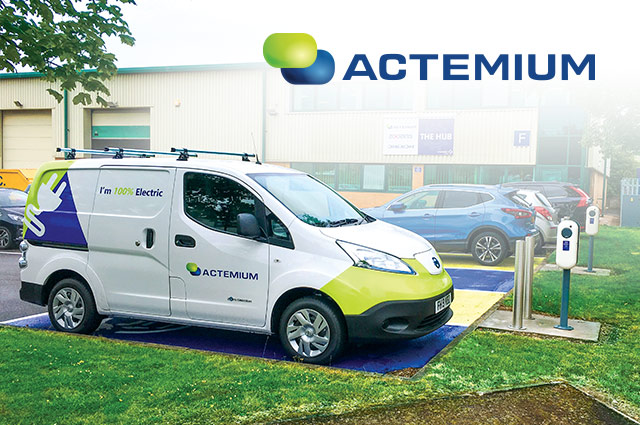 Actemium electric vehicle parked in an EV charging lot